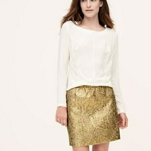 REPOSH LOFT Metallic gold jacquard skirt size XL